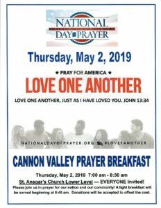 National Day of Prayer - Cannon Valley Prayer Breakfast @ St Ansgar's  Lutheran Church