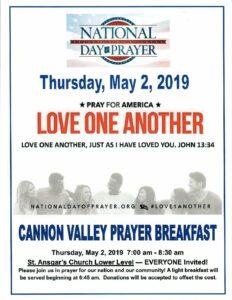 National Day of Prayer - Cannon Valley Prayer Breakfast @ St Ansgar's  Lutheran Church